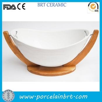 Modern Style Boat Shape Decorative White Ceramic Fruit Bowl With Wooden Holder Buy White Ceramic Fruit Bowl Decorative Ceramic Fruit Bowl Product On