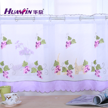 Beautiful Sheer Cafe Curtain Fruit Design Embroidery Kitchen Cafe ...