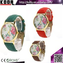 Vintage Faux Leather Watches Flower Related Gifts Ladies Watch Gift Set