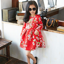 Girls long sleeve font b dress b font spring full floral teenagers baby girls party wedding