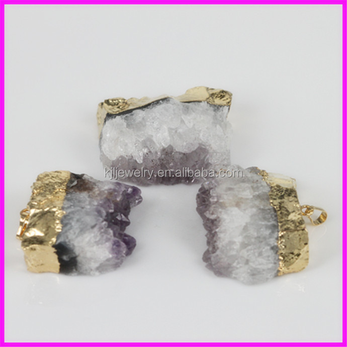 KJL-BD5059 Crazy HOT ! Nature Amethyst geode agate druzy in 24k gold pendant