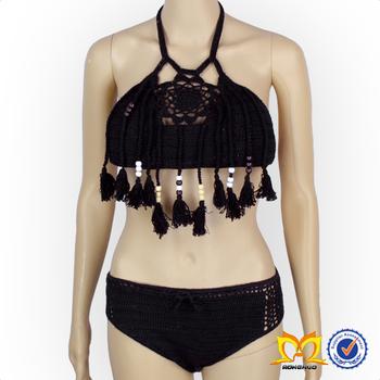 a95cf774dc24d Girl Boho Crochet Bikini With Tassel Swimwear Children Bikini For Little  Baby Girl