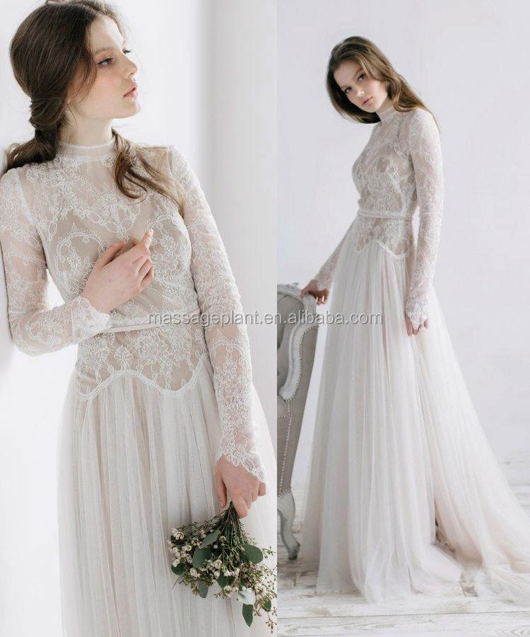 7d9cf90be5a Dos en dentelle robe de mariée Romantique Robe À Manches Longues robe  vintage