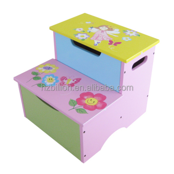 Cute Kids Wooden Toddler Step Stool With Storage Furniture