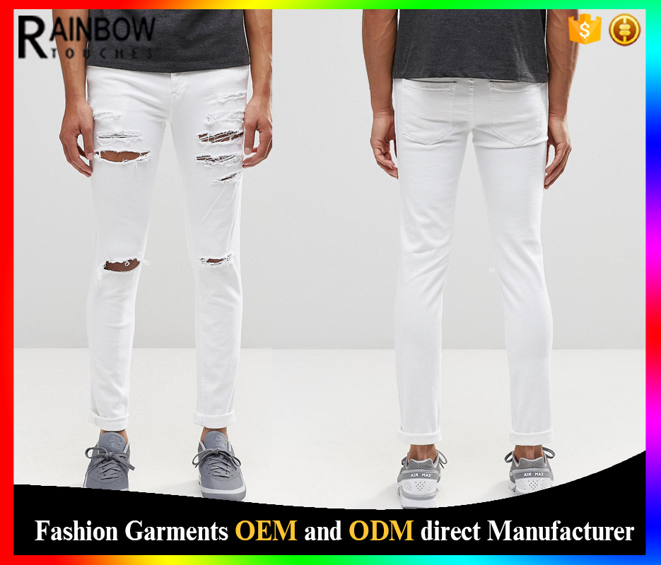 2016 Oem High Quality White Mens Jeans Trousers Wholesale