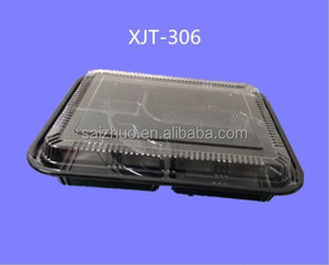 export thickness black plastic 5 compartment lunch container/takeaway bento box/takeout lunch box to America market