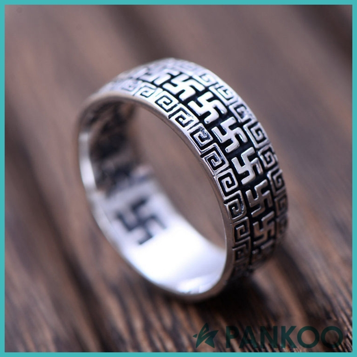 Men's Tai Silver Jewelry Engraved Six-words Rings