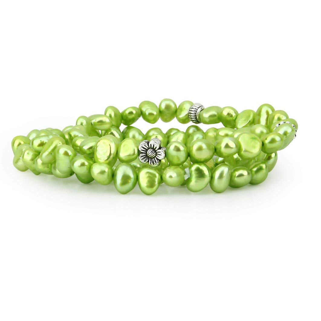 """Genuine Freshwater Cultured Pearl 7.0-8.0 mm Green Stretch Bracelets with base beads (Set of 3) 7.5"""""""
