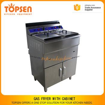 Efisiensi Tinggi Peralatan Dapur Mesin Penggoreng Kentang Stainless Steel Ayam Fryer Tekanan Gas