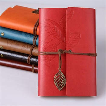 Fashion Vintage Leaf Decor Faux Cow Leather Spiral Page Notebook Creative Pocket Copybook Pirate Cover Travel Journal Book
