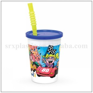 Wholesale 12 oz personalized Print Disposable Plastic Kids Cup with Lid and Straw,OEM plastic beverage sipper cup for kid