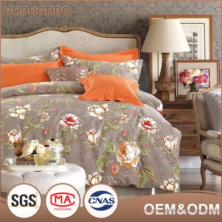 King Size Classic Design Luxury Soft Custom 4Pcs 100% Cotton Wedding Printed Big Flower Bedding <strong>Set</strong>