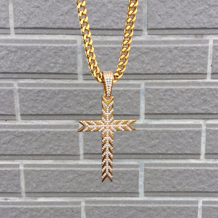 Sterling silver pave zircon iced out wholesale gold cross pendant bulk