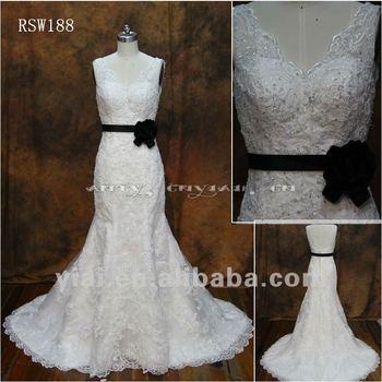 Rsw188 Removeable Black Sash Low V Back Wedding Dresses With