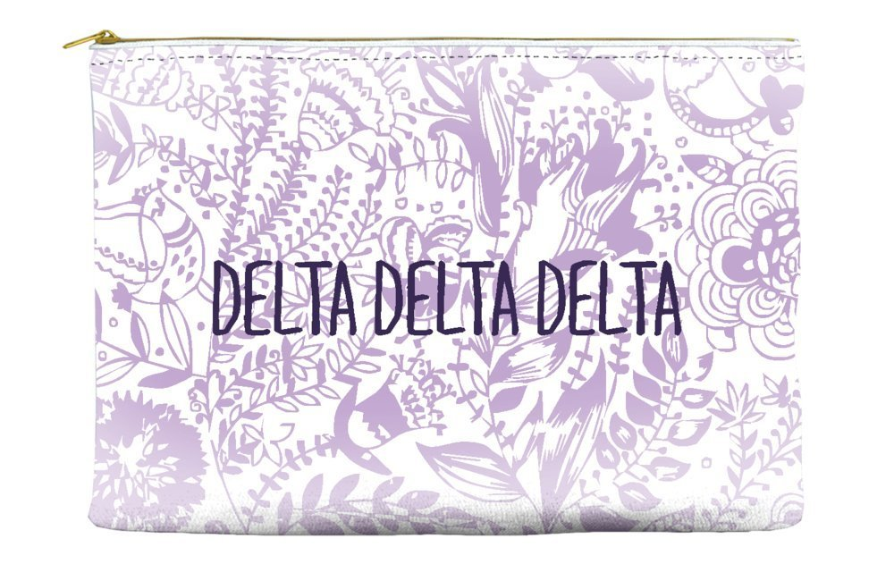 Delta Delta Delta (Tri Delta) Floral Pattern Purple Cosmetic Accessory Pouch Bag for Makeup Jewelry & other Essentials