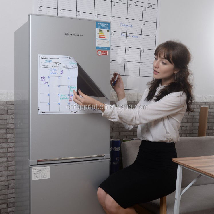 Eco-friendly dry erase magnetic calendar for refrigerator