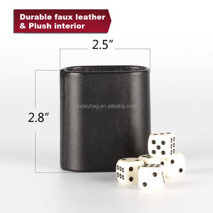China wholesale stock leather mini U shape dice cup with dices