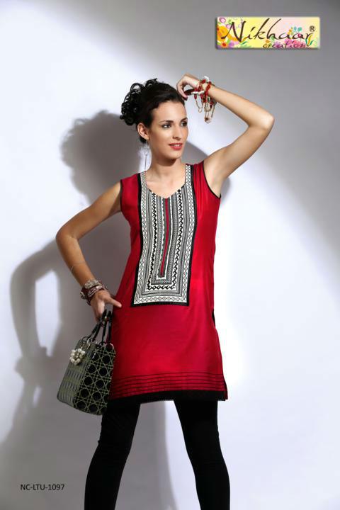 Bollywood Style Indian Tunic Red Color Cotton Kurti Kurta Tunic ...