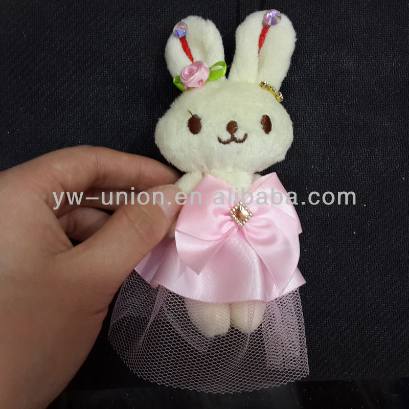 12cm pink dressing easter bunny rabbit keychain toy