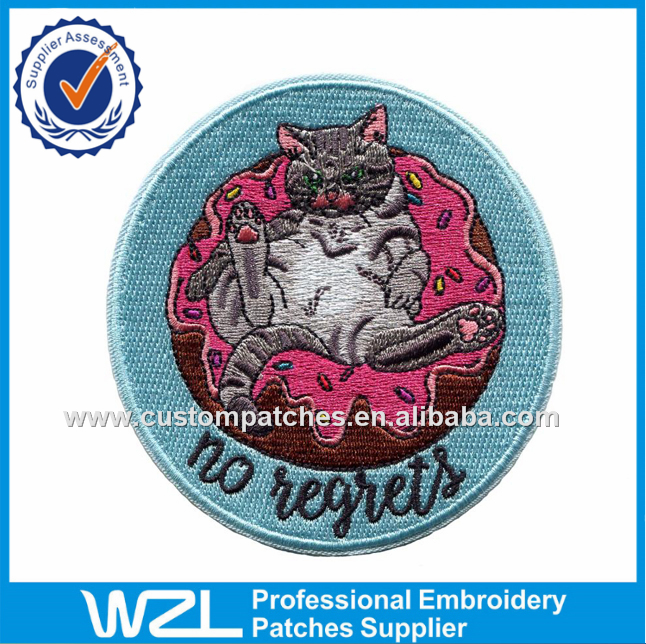 100% coverage lazy cat embroidered patch machine made badges