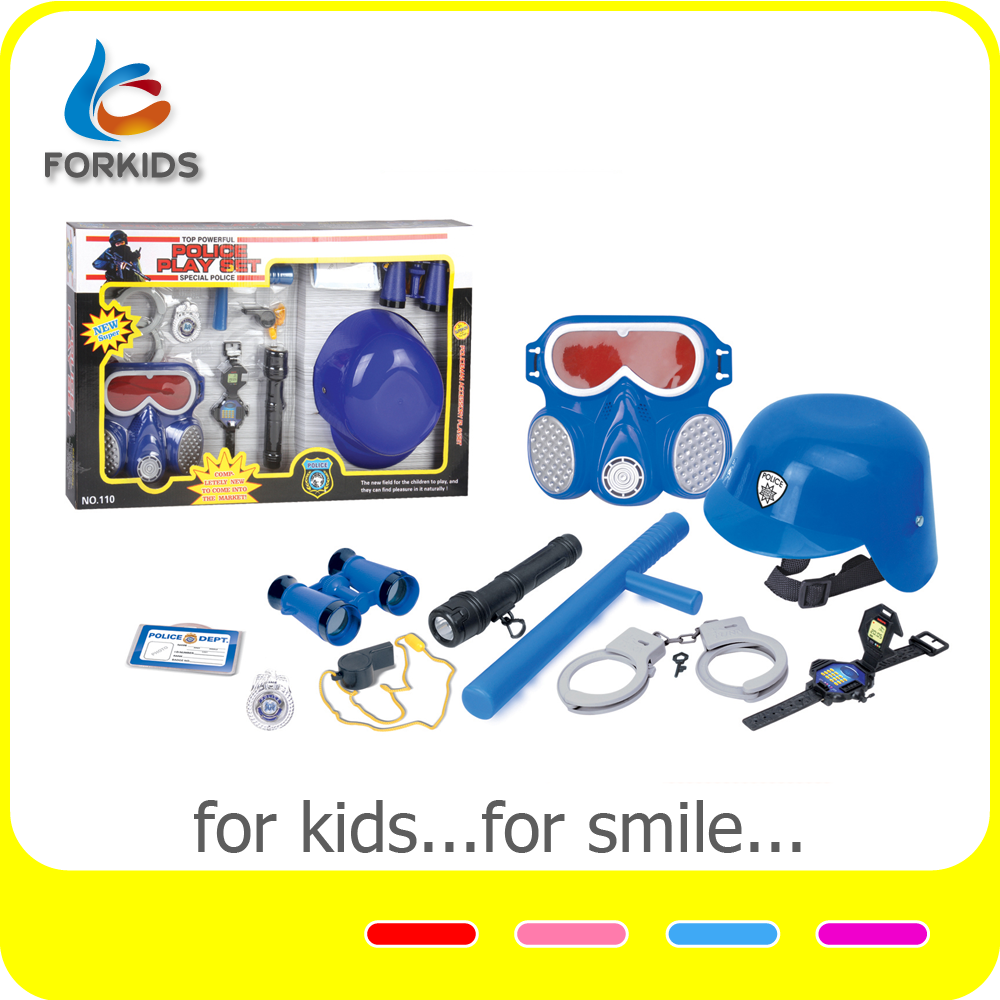 Kids pretend police equipment toy,plastic police force toys play set for role play game