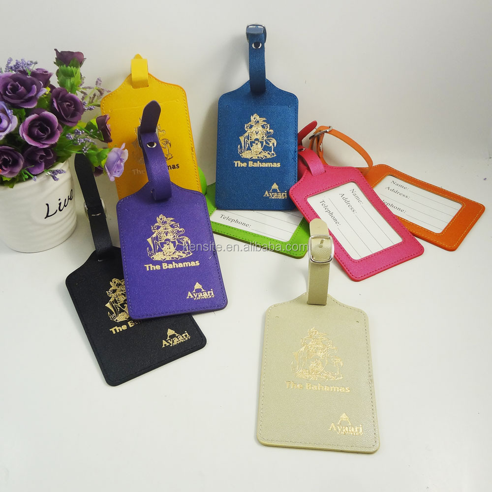 2017 customized <strong>logo</strong> gold hot stamping multy colors pu luggage tag