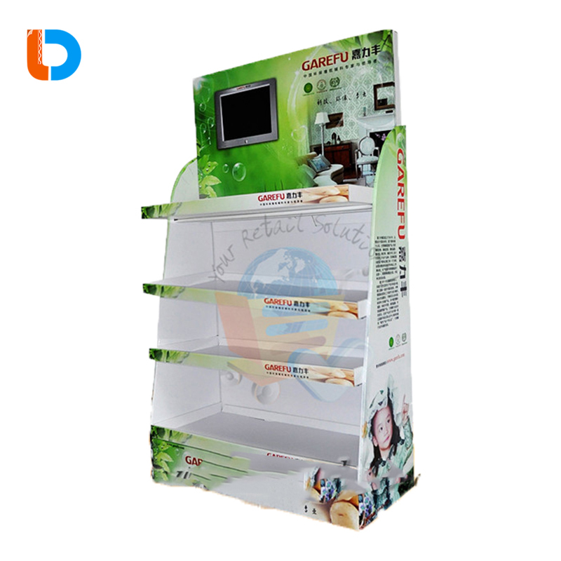 Factory Custom Printing Cardboard Display Floor Stand With LCD Screen