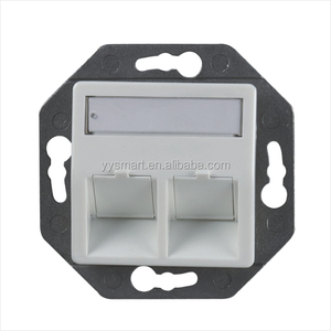 Cat5e Cat6 Germany Network RJ45 FacePlate With Shutter Bevelled Wall Outlet 2 ports