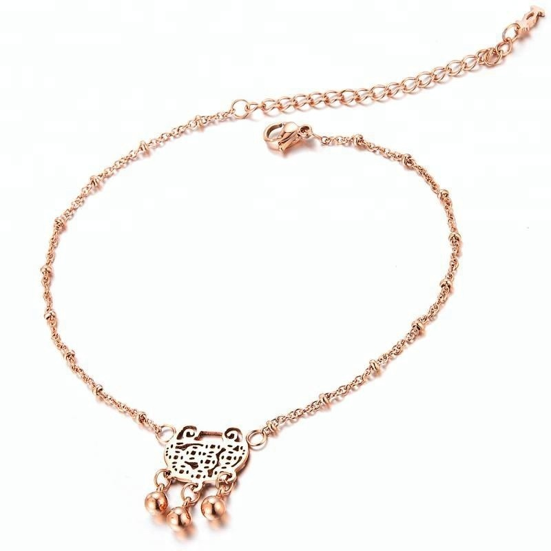 Rose Gold Link Chain Women Anklet Three Bells Precious lock Pendant Foot Chain Bracelet