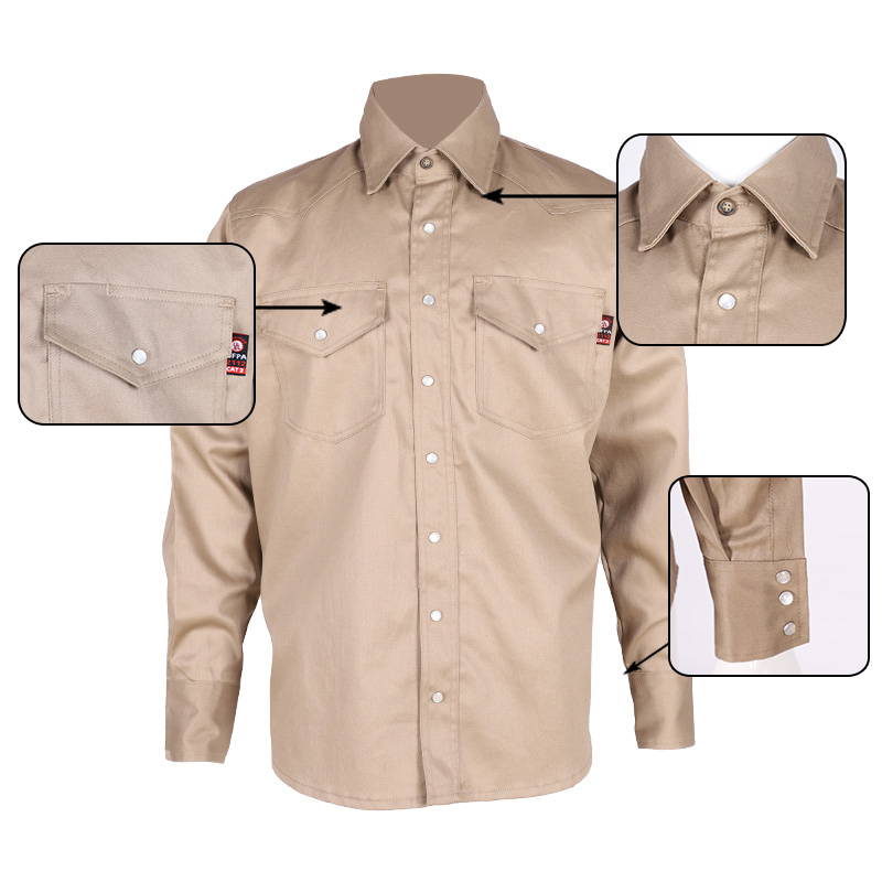 high quality cotton Men's fire resistant anti-UV shirt for protection