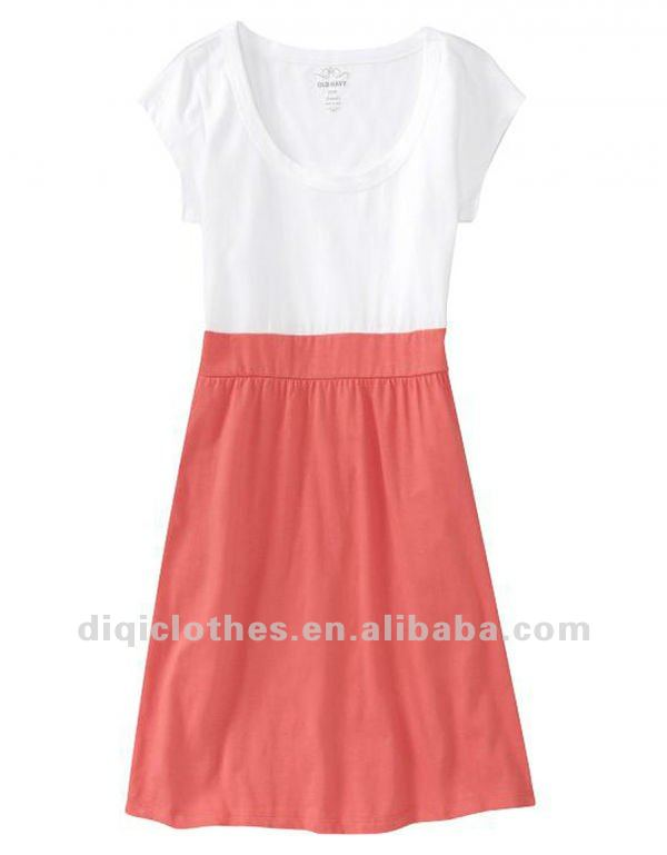100% cotton sleeveless stretch soft dress with t shirt top