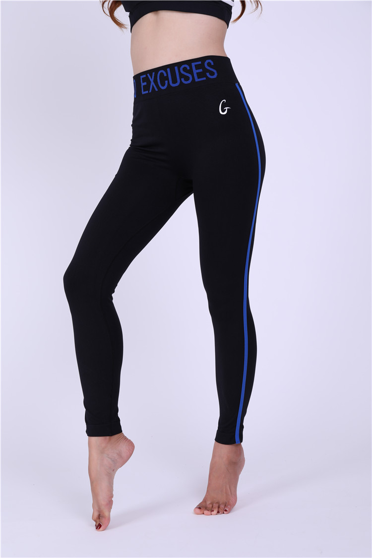 2019 Factory price solid color waist letter printed  fashion mature women bulk black legging