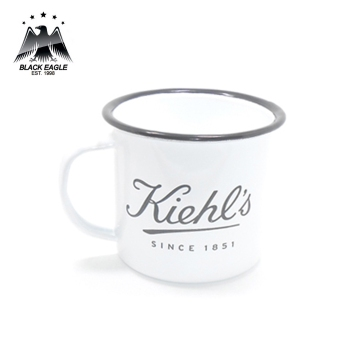 14oz branded black and white enamel cafe camping mug