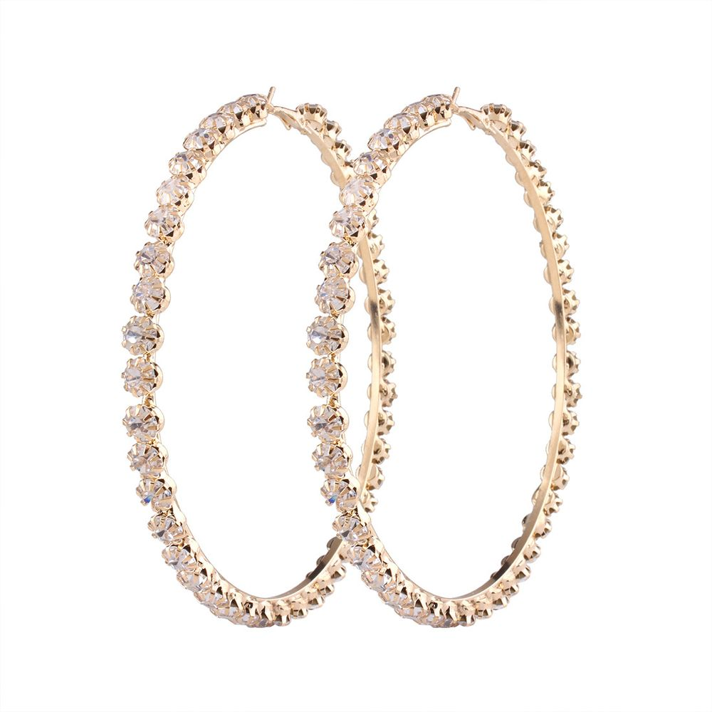 2017 New Trendy Rihanna Style Big Large Gold Plated Crystal Diamond Hoop <strong>Earrings</strong>