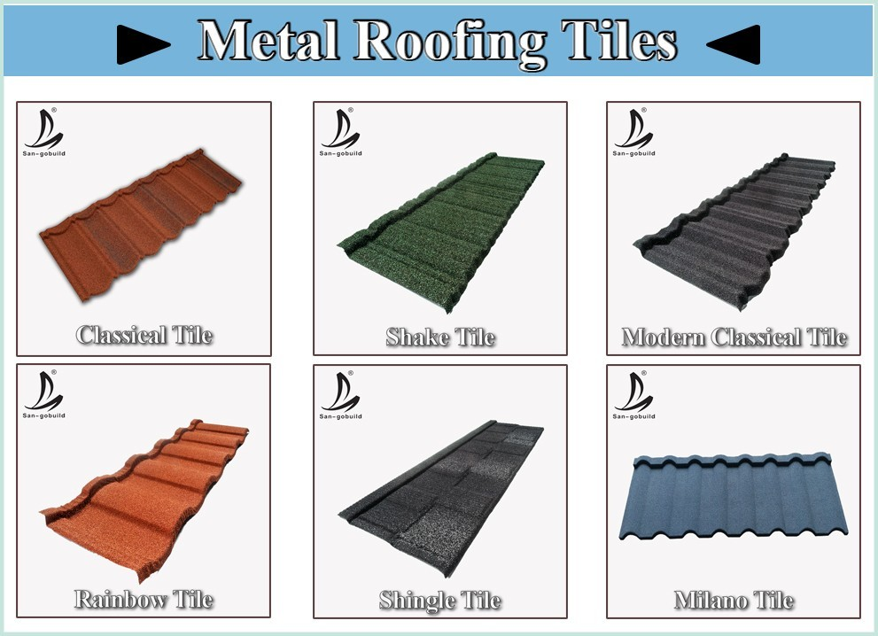 Stone coated heat resistant metal roofing tile sheets for Types of roofing materials and cost