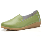 Spring summer woman shoe green color pointed toe leather female footwear shoes