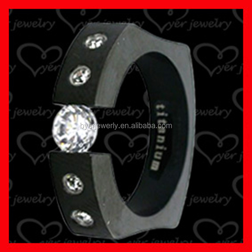 Black CZ stone setting titanium ring for men