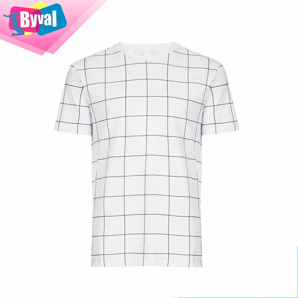 T Shirt Wholesale Cheap Grid Check T Shirt Printing 100 Cotton