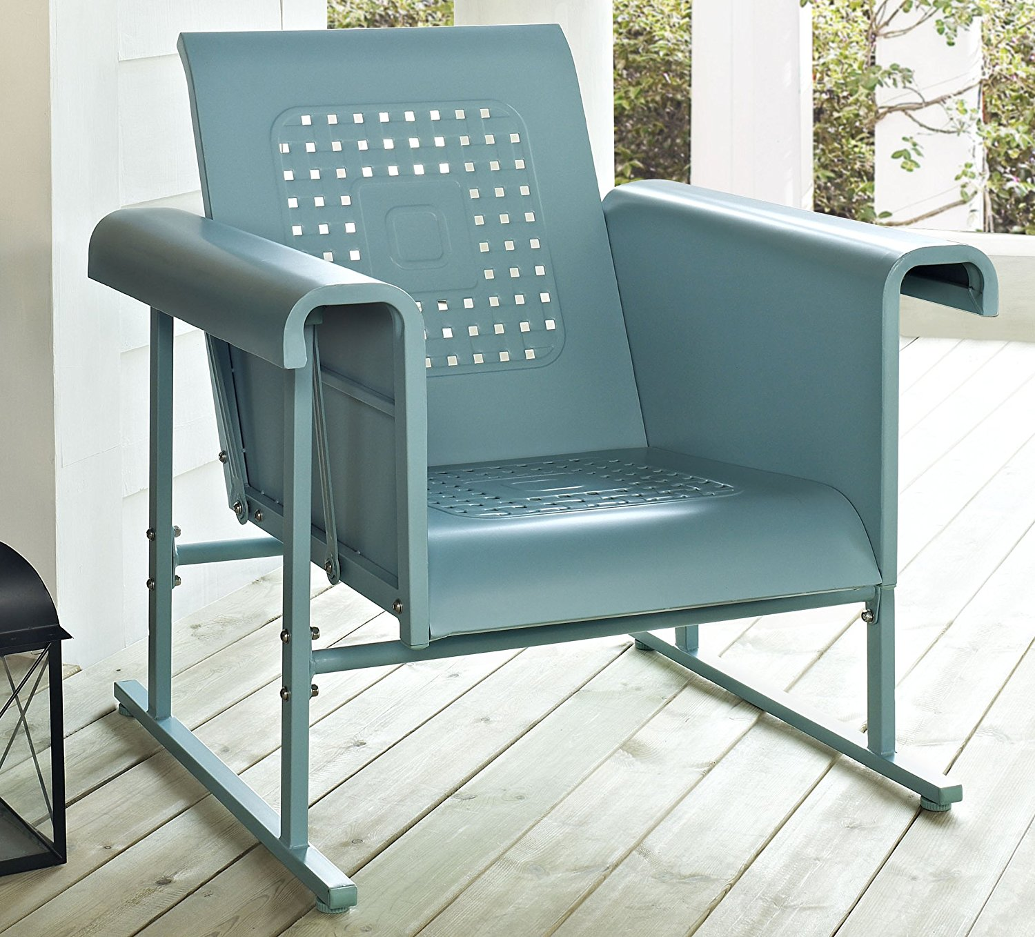 Attirant Crosley Furniture Veranda Metal Outdoor Single Glider Chair   Caribbean Blue