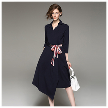 Fashion Western Slim Fit Elegant long sleeve v neck sexy black lady dress