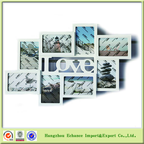 BSCI factory LOVE photo frames set 8 pictures wall hanging