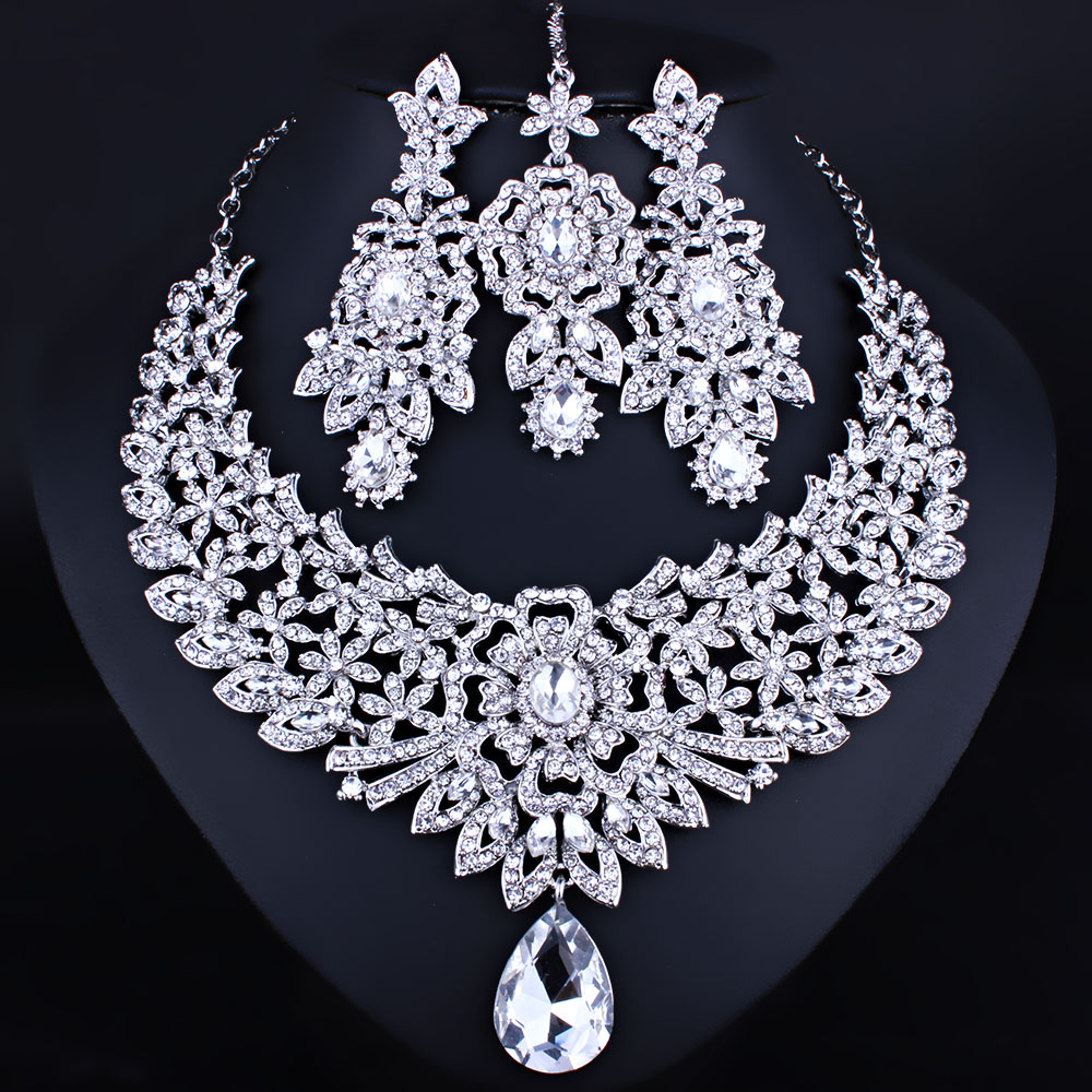 Farlena Wedding Jewelry Classic Indian Bridal Necklace Earrings