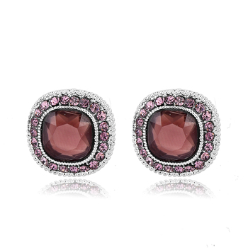 brand factory online shopping red ruby Single Stone Stud Earrings Designs