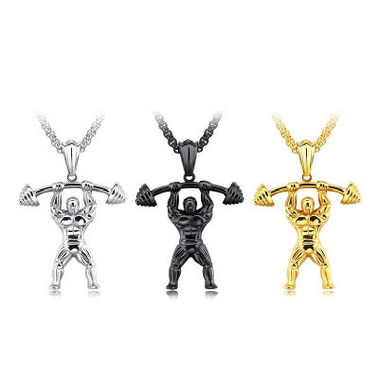 Wholesale New Fashion Stainless Steel Muscle Dunbbell Fitness Mens Pendent Chain Necklace