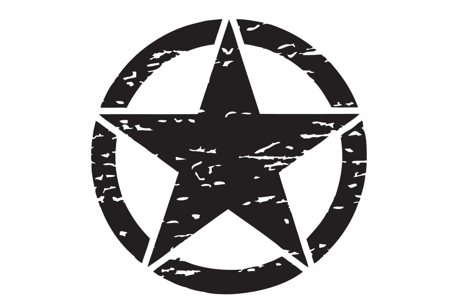 """The Pixel Hut gs00150 17"""" Reflective Black Distressed Army Military Star Hood Decal for Jeep Wrangler"""