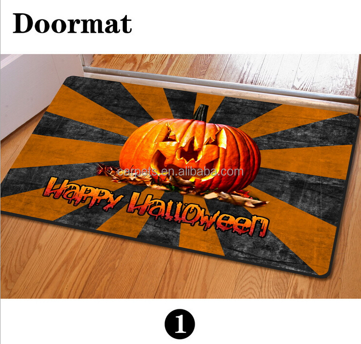 Customized high definition Halloween 3D printed jack-o-lantern floor door mat for Living Room BathRoom Decorative mat