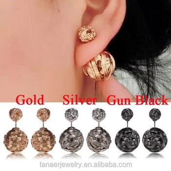 a7f54296cd66 Nueva moda de Mujeres de doble lados pendiente de la perla bola dos  pendientes piercing