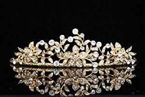 Flower Leaf Bridal Wedding Tiara Crown - Clear Crystals Gold Plating T656 by Venus Jewelry by Venus Jewelry