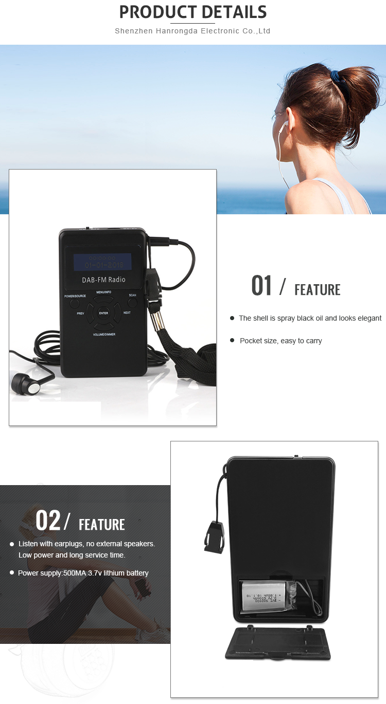 Kulaklıklı Taşınabilir Cep Boy Dab + Fm Dijital Küçük Radyo