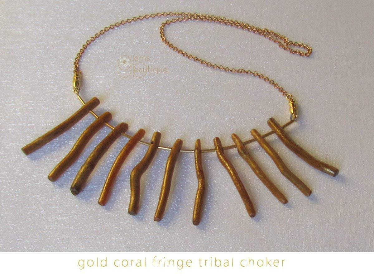 "GemsBeautique Tribal Statement Gold Coral Fan Fringe Choker. Elegant 16"" - 18"" Gold Fan Necklace."